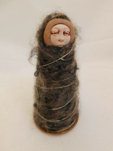 R-- NATIVE AMERICAN FIGURAL YARN SPOOL SIGNED J CROWE 2005