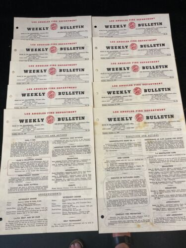 1960 LOS ANGELES FIRE DEPARTMENT WEEKLY BULLETIN, LOT OF 10, 6/21-6/14