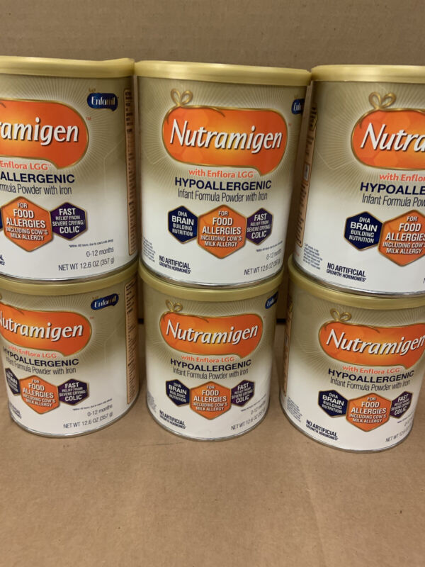 6 Cans NUTRAMIGEN LOT OF INFANT FORMULA W ENFLORA 12.6 OZ.
