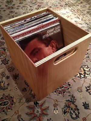 Vinyl Record Storage Crate - Birch and Maple - Comes Assembled - Natural Finish Natural Birch Finish