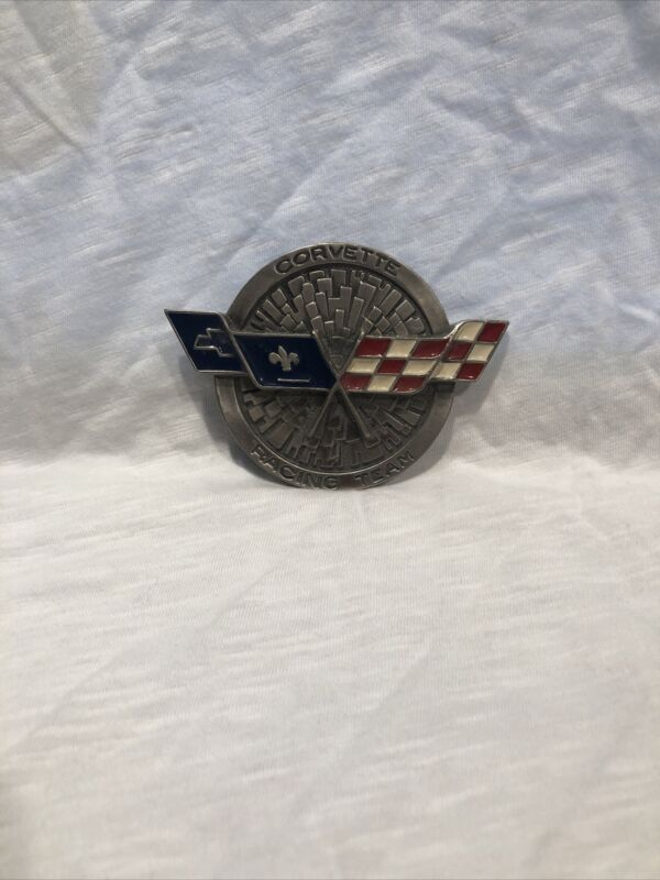 vintage figural corvette racing team belt buckle - winners flag!
