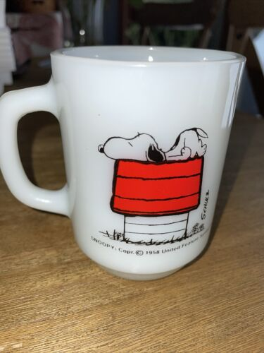 Vintage 1958 Snoopy Mug Fire King Milk Glass Allergic To Mornings Coffee Cup AH - $24.99