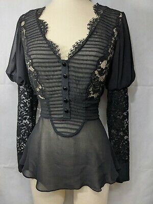 Temperley London Silk Shirt Size 8 Black Lace Blouse Victorian Edwardian Style