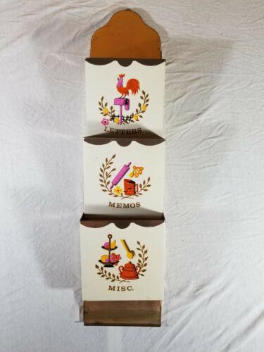 Vintage MCM copper Metal rooster hen chicken wall letter holder rack rolling pin