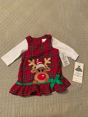 NWT Rare Editions Girls Size 3-6 Month Christmas Reindeer Dress