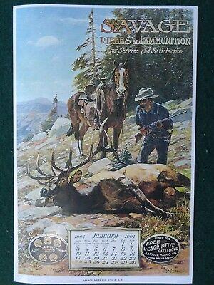 Savage Firearms Advertising Poster Gun Company 1904 Calendar No Pad Elk Hunt