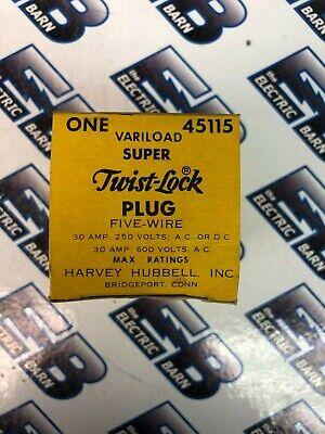 Hubbell 45115 Non Nema 30 Amp Variload 5 Wire 600 Volt Twistlock Plug New
