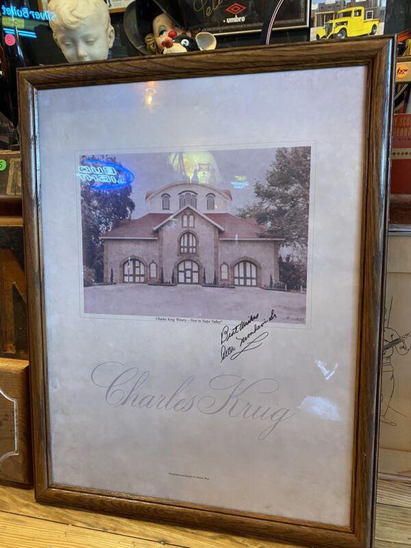 Charles Krug Winery M West Peter Mondavi Senior Autograph Napa Valley