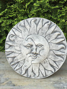 sculpture en pierre plaque en pierre mur relief soleil lune visage ebay. Black Bedroom Furniture Sets. Home Design Ideas