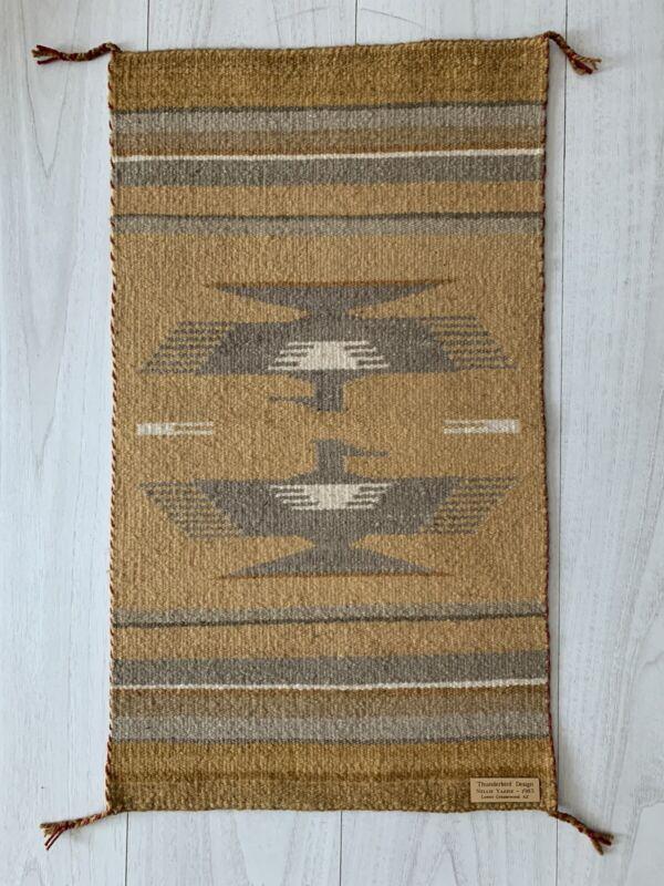 Navajo wool rug Thunderbird design by Nellie Yazzie 1983 Lower Greasewood AZ