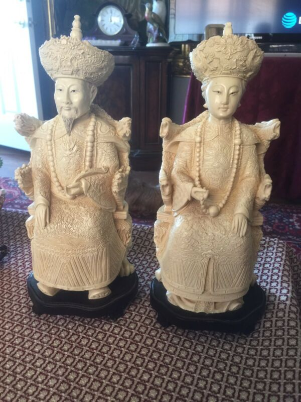 "Vintage Pair Of Chinese Emperors 12"" Resin Figures"