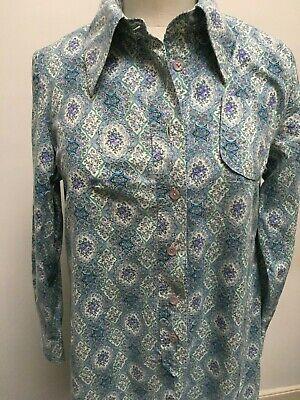 Vintage HORROCKSES 1960s 70s LIBERTY LONDON TANA LAWN shirt dress size 14