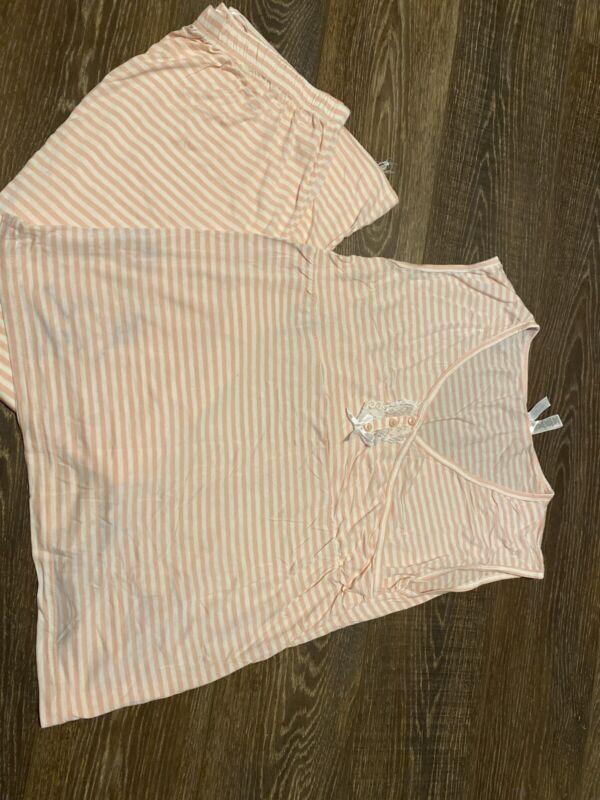 Nurture By Lamaze Womens Nursing PJs Pink White Stripes Pants And Top Large