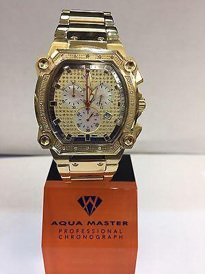 Men Aqua Master Jojo Jojino Joe Rodeo Yellow Metal Band 40Mm Diamond Watch W 143