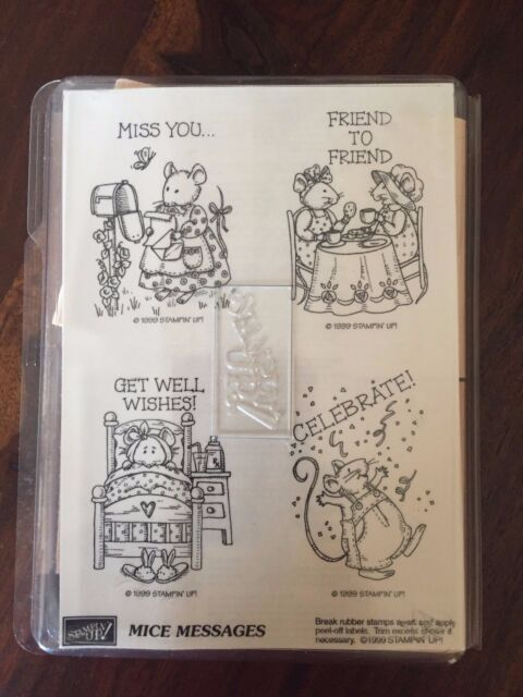 Stampin' Up Mice Messages Set of 4 Stamps Retired 1999 Celebrate Love Friends