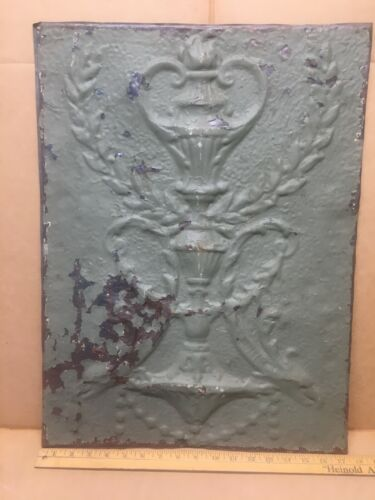 """1pc 23"""" x 17"""" Fancy Urn Antique Ceiling Tin Vintage Reclaimed Salvage Art Craft"""