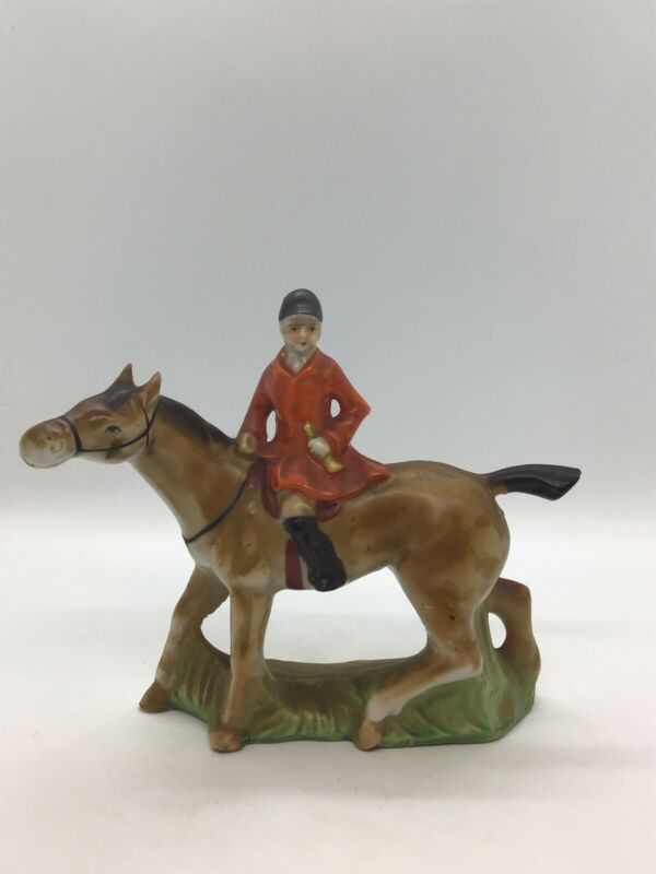 Vintage Equestrian Fox Hunt Figurine - Rider On Horse