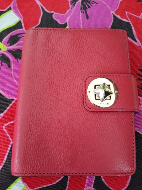 Kate Spade Leather Turnlock Agenda Planner Salmon Color