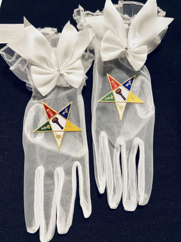 Masonic Eastern Star OES Worthy Matron Gloves Sheer Chiffon