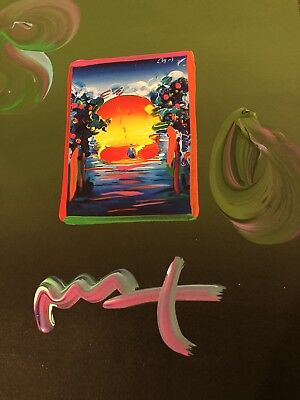 "Peter Max, ""A BETTER WORLD"" Mixed Media Signed Overpaint Painting"