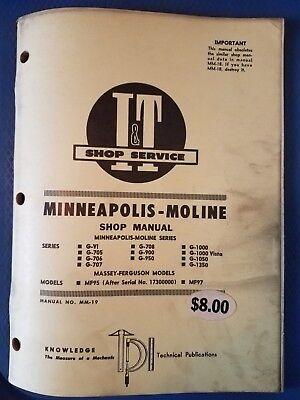 Minneapolis-moline It Shop Service Manual G-vi G-705 To G-1350 Mf95 Mf97 Mm-19
