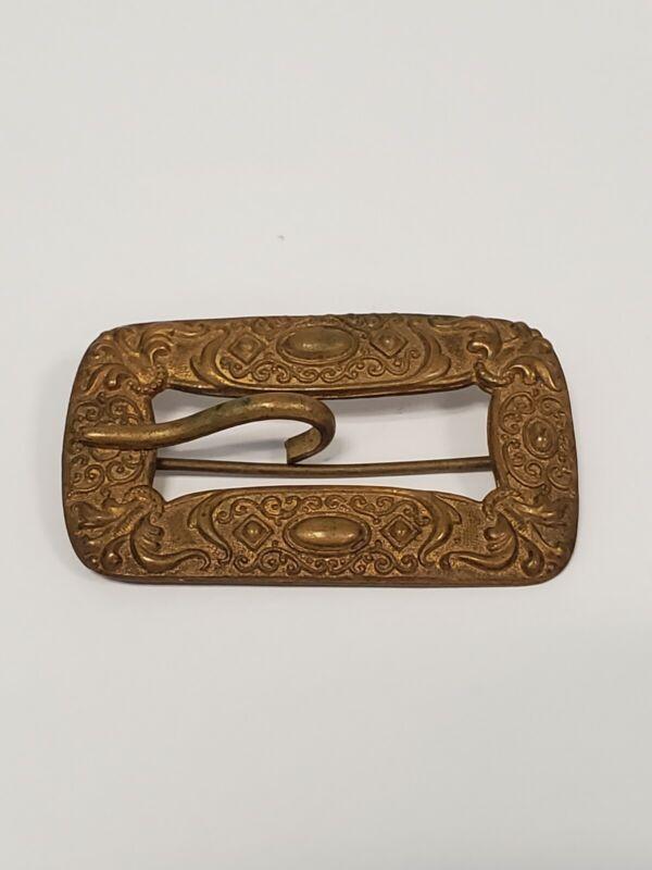 Antique Victorian Era Brass Sash Pin Buckle Art Nouveau Filigree Brooch