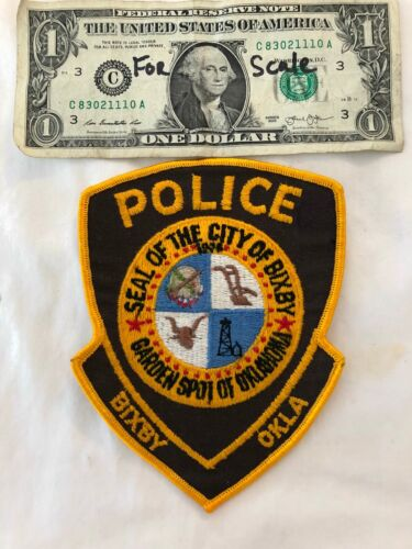 old vintage Bixby Oklahoma Police Patch Un-sewn Cheese cloth Oklahoma Patches