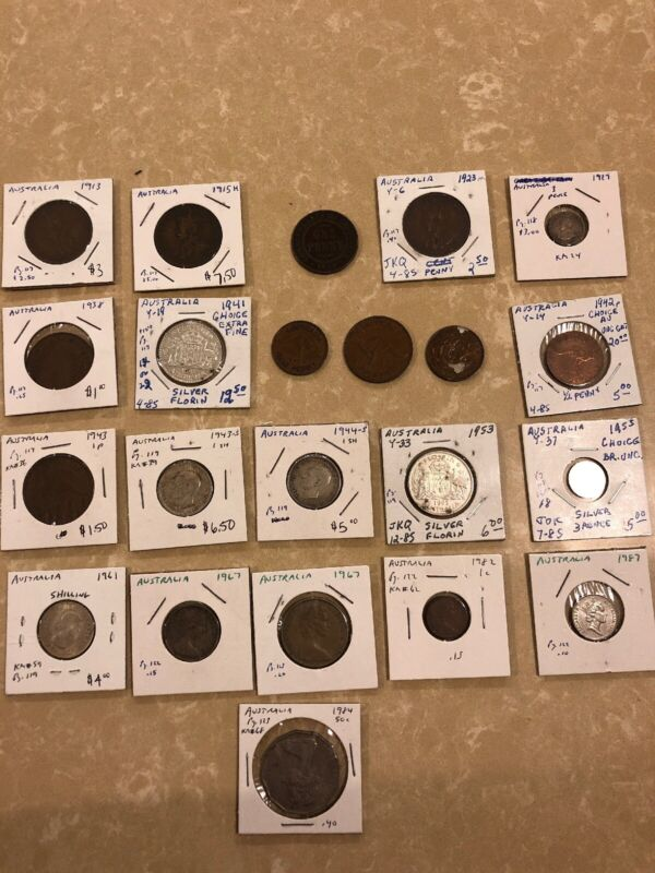 Australian Old Coin Lot: Collection of Old Coins from Australia 1913 - 1987