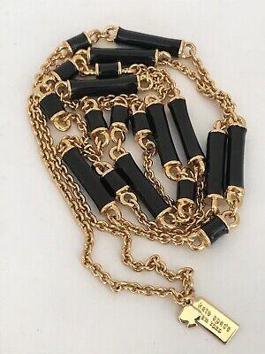 "Kate Spade Bar Necklace Black Enamel Gold Chain 32"" New York $89.00 EUC"