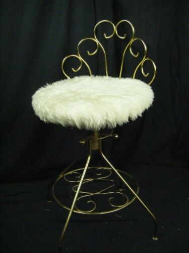 A PACSCO ORG Vtg Hollywood Regency Gold Metal Vanity Adjustable Swivel Chair