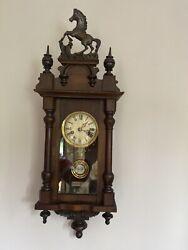 Beautiful Antique 19th Century Vienna Regulator Wall Clock Prancing Horse.