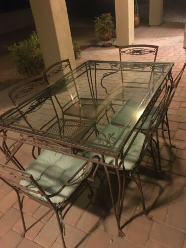 Lovely Art Nouveau Design J. Salterini 7 Piece Wrought Iron Dining Set, MB210