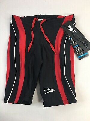 SPEEDO Rapid Splice Powerflex Swim Jammer Shorts Black Red White NEW Mens (Mens Swim Jammer)