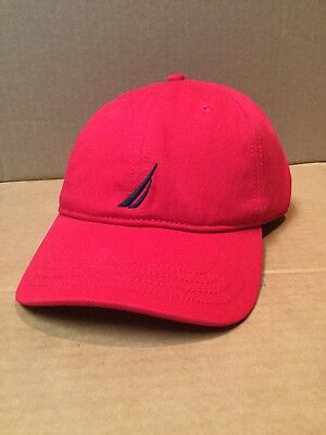 Nautica Sport Men's Polyester Baseball Cap Adjustable Strap Red Spell out Back