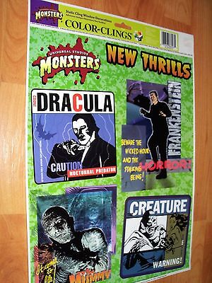 Monster 4pc Color-Clings 1998 Universal Studios Halloween Window Decoration NOS - Monsters Halloween
