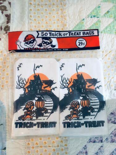 Vintage 1960s Trick or Treat Halloween Paper Bags Gay Gem