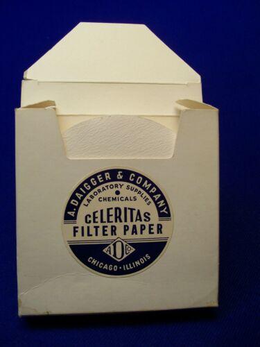 "Vintage A. Daigger & Company Celeritas Filter Paper  12.5cm 5"" 100 Circles USA"