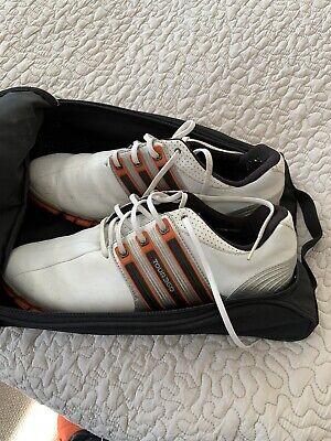 Adidas Golf Shoes Men's Tour 360 FitFoam Leather White Orange - UK 10 1/2