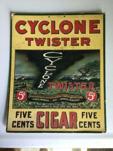 VIntage 1928  Advertising CYCLONE TWISTER CIGAR Cardboard Sign  RARE