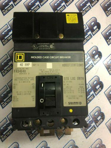 Square D FA34040, 40 Amp, 480 Volt, 3 Pole, GREY, Circuit Breaker- WARRANTY