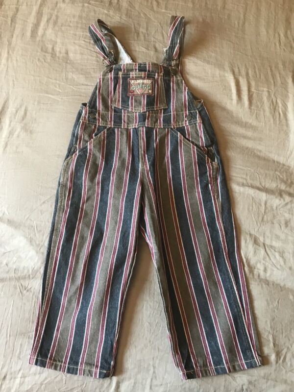 Vintage 90s Baby Guess Wilderness Denim Jeans Overalls 4 Y Striped Brown Blue