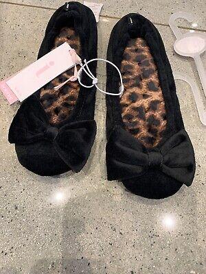 Ladies Totes Isotoner Black Slippers 3-4