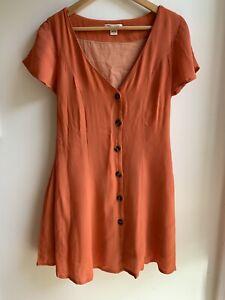 Sunset orange billabong button up dress