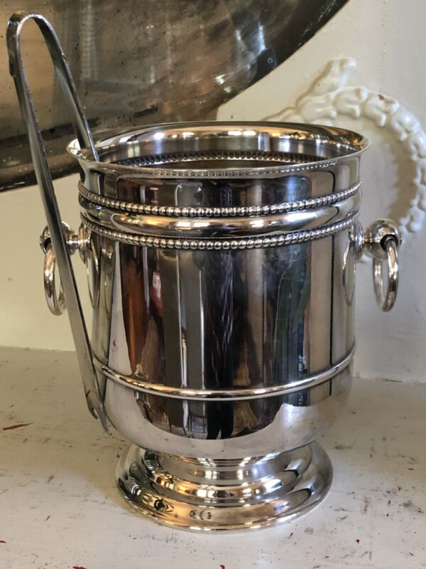 Christofle Perles Silver Plated Champagne Cooler Ice Bucket with Tongs