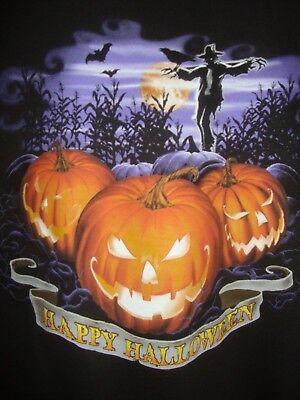 DELTA~mans~HAPPY/HALLOWEEN/SILK/SCREEN/PUMPKINS/SCARECROW/T/SHIRT! (M) N/W/TAGS! - Happy Halloween N