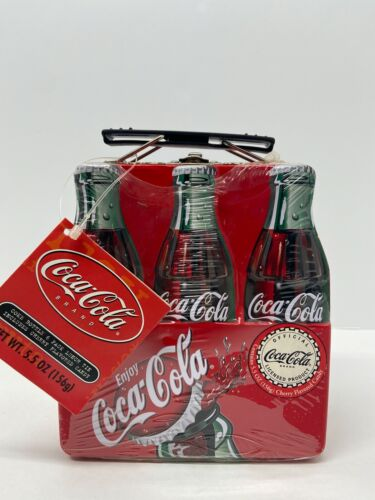 NWT Vintage Coca Cola Bottle 6 Pack Lunch Tin (Includes Cherry Flavored Candy)
