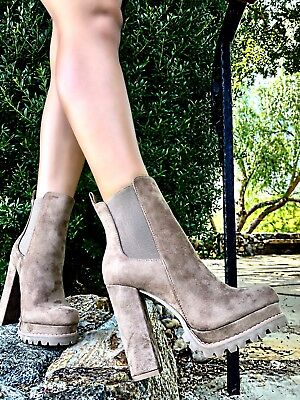 Liliana Faux Suede Platform Lug Sole Almond Toe Chunky Heel Bootie Ankle Boots