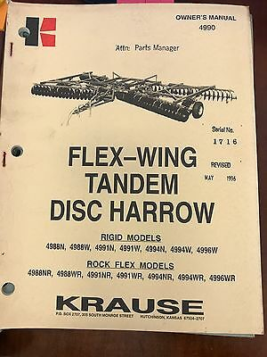 Krause Owners Manual Flex-wing Tandem Disc Harrow 4990 Used