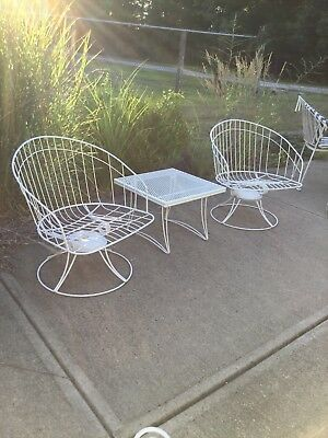 Homecrest patio chair chairs pair and table vintage steel mcm