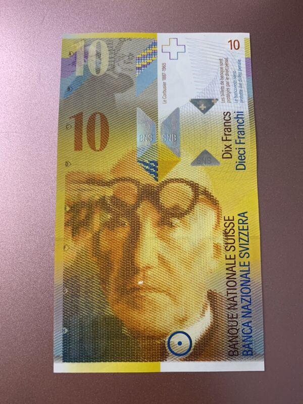 10 Swiss Francs. 10 Switzerland UNC Single Banknotes. National Bank. Swiss Note.